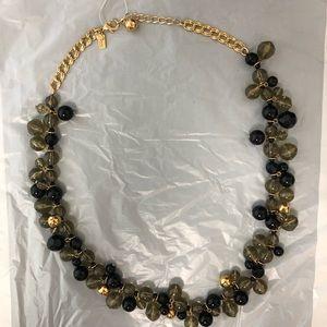 "Kate Spade necklace 24"" smoky gray black goldtone"